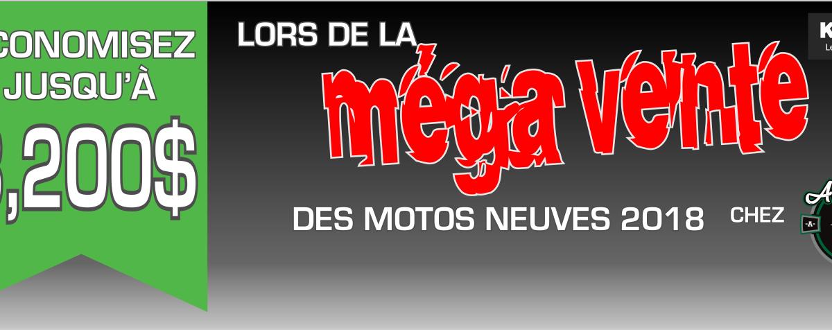 Méga vente de motos neuves 2018 de Kawasaki